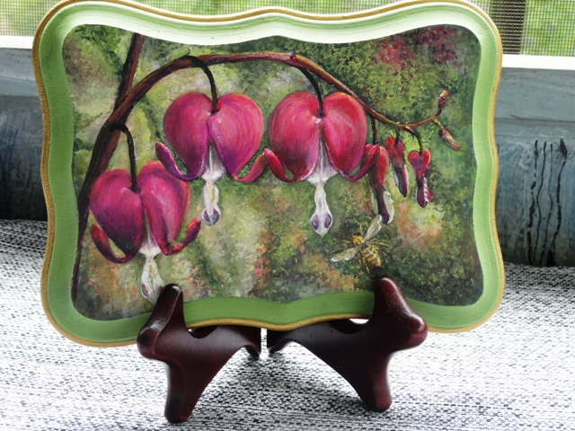 Bleeding Hearts on Wooden Plaque