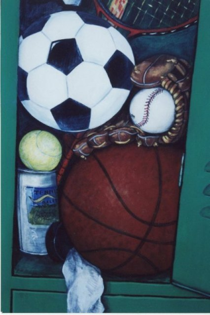 Sports Locker Mural on closet doors