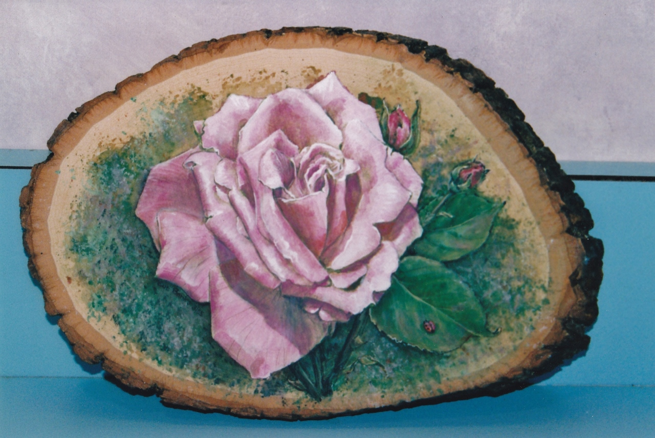 Pink Rose on Slice of Wood