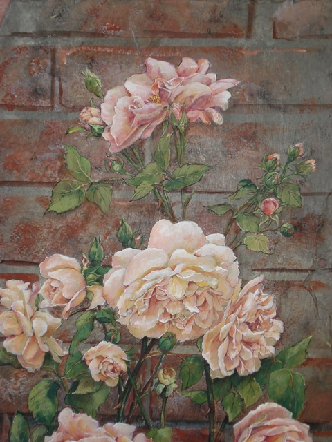 Peach Roses on Slate with Brick Wall