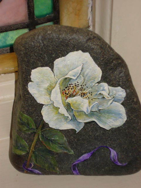 Wild White Rose on Stone