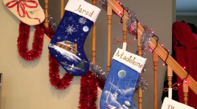 Holiday Stockings with Cavorting snowmen