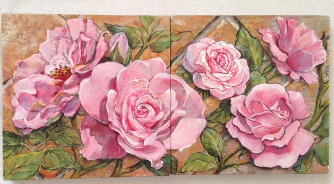 Roses on a Mini-Mural of 16 Slate Tiles
