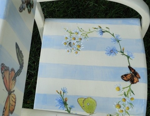 Butterflies, Wild Flowers and Stripes on a Child's Chair