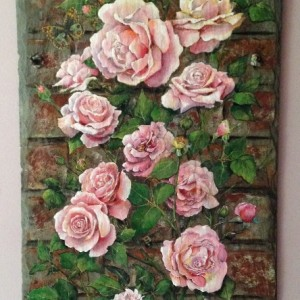 Pink Roses Climb A Brick Wall Painted Furniture By Sue
