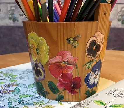 Pansies on a Wooden Bucket